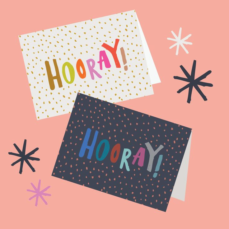 Hooray! cards - 4pk2 of each colourA6 size (when folded) (5.8 x 4.1 inches) Blank InteriorPrinted on a matte 350 GSM white card packaged in a cello sleeve with a natural 100% recycled paper envelope. The card stock is produced with ECF pulp and is FSC Mix Certified.MA and GRANDY cards are designed and printed in Brisbane, Australia.Your order will be sent in a padded bag via Australia Post. Please allow 5-7 business days for delivery.