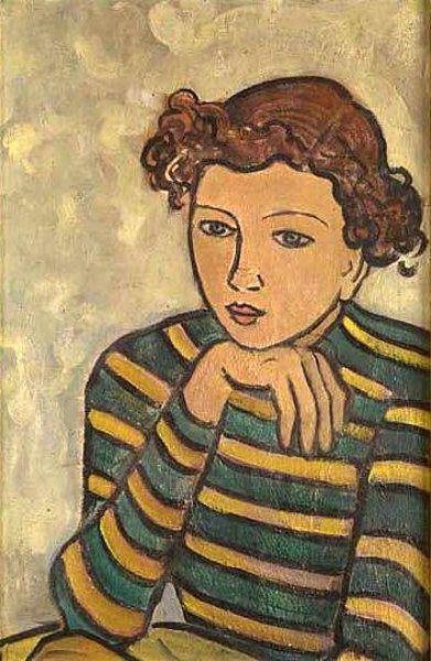 Tymon Niesiolowski (Polish) -  Girl In A Striped Blouse