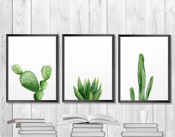 Green plant print. Cactus Printable. Botanical Art, Southwestern Art, Tropical Print, Plant Download, Plant Watercolor. Minimalist Wall Art