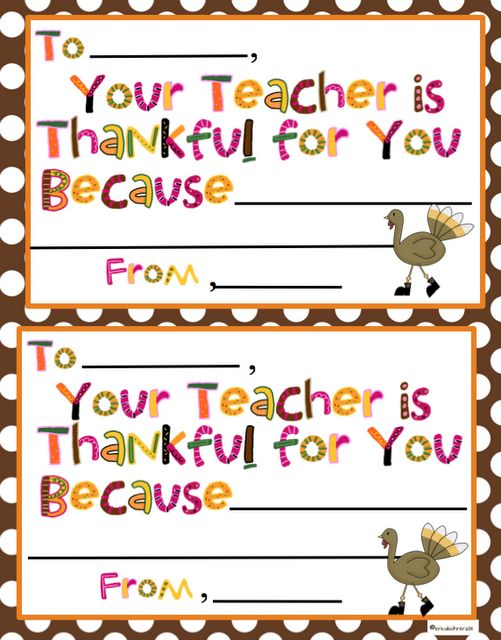 Cute card idea for every Thanksgiving. Send home a note telling each child why we are thankful for them. This is sweet.