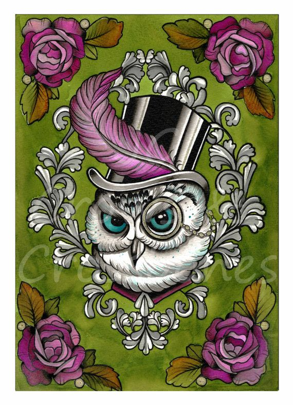 Victorian Owl in Top Hat Tattoo flash / Steam by CrowsCrossbones, £15.00