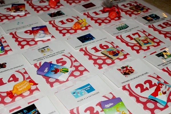 Les petits cadeaux du calendrier de l'Avent : chocolats et bonbons #mamannougatine #calendrieravent #calendrier #avent #chaussette #diy #faitmaison