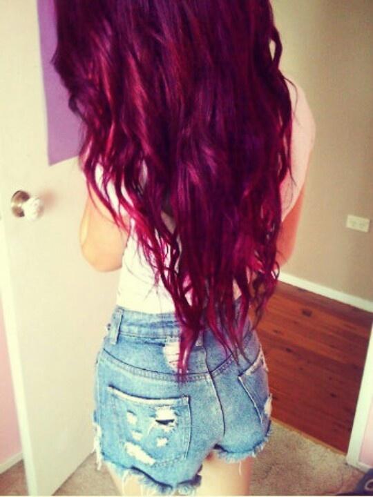 Long magenta hair.