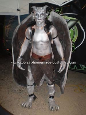 Homemade Gargoyle Costume: This Homemade Gargoyle Costume took me over a year to make. The wing frame is made from an old satellite dish, flexible aluminum conduit, and fabric from