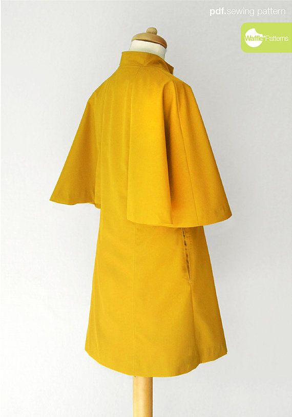 PDF naaien patroon vrouwen Cape jas Lemon Pie door WafflePatterns