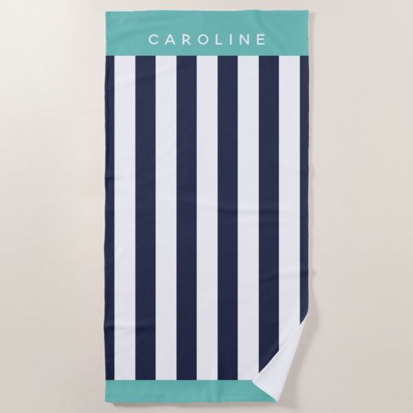 Custom Elegant Navy Blue Bold Stripe Pattern Beach Towel Zazzle