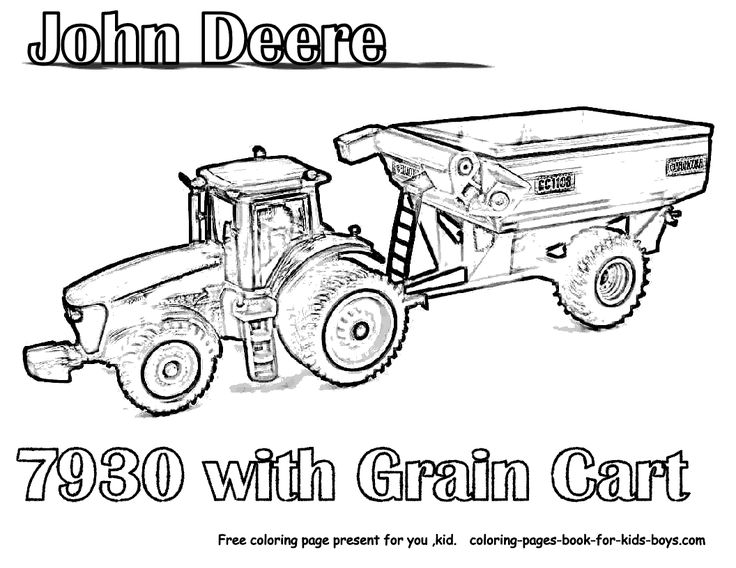 tractor coloring pages - John Deere Combine Coloring Pages