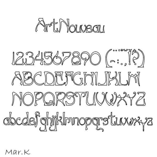 font art nouveau 3d model - font ArtNouveau... by Mar.K