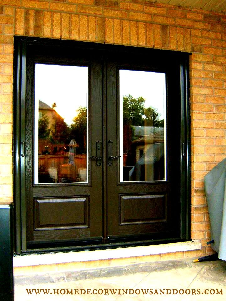 Double fiberglass garden door with built in mini blinds and exterior retractable screen painted for Fiberglass double doors exterior