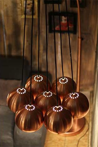 Zuiver hanglamp Multishine Copper. past helemaal in de koper trend van winter 2014.