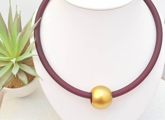 Large Gold Bead Necklace Burgundy Red Statement Necklace