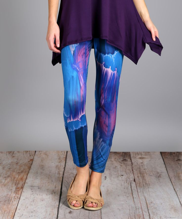 Take a look at this Blue & Purple Streak Abstract Slim-Leg Pants - Plus Too today!