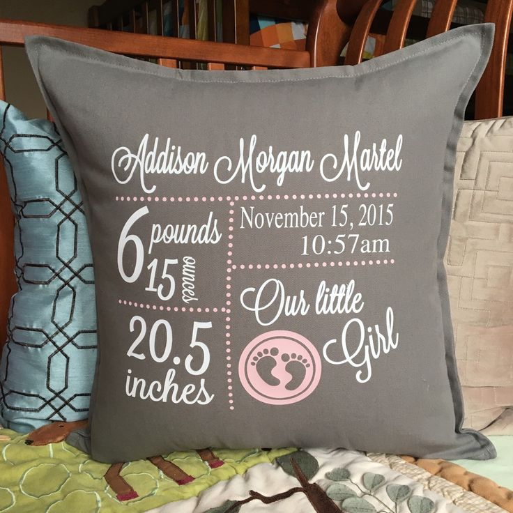 Birth Announcement Pillow Cover; Birth Stats Pillow, Baby Name Pillow; Personalized Pillow; Baby decor; Baby Gift; Baby Shower Gift; Gift by PMWBoutique on Etsy https://www.etsy.com/listing/253899787/birth-announcement-pillow-cover-birth