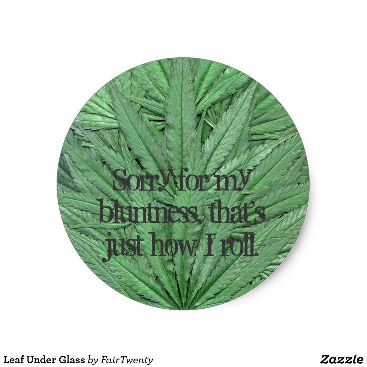 Leaf under glass classic round sticker
