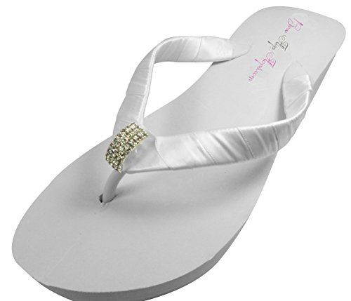 Bridal Flip Flops Wedding Ivory Wedge White Platform Bride Heart Heel Satin Rhinestone Flip Flops ** Visit the image link more details.(This is an Amazon affiliate link and I receive a commission for the sales)