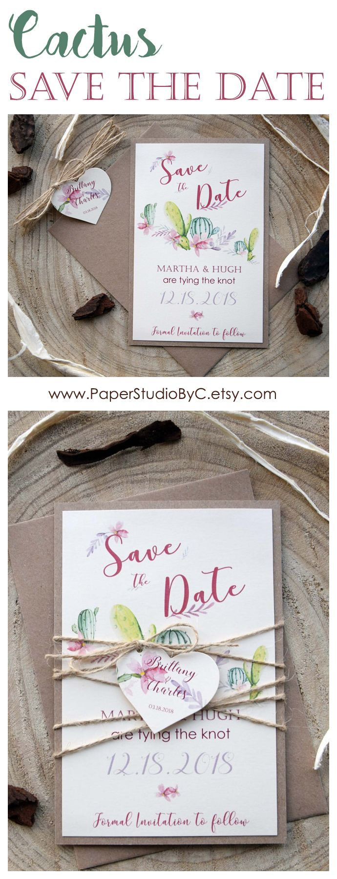 Cactus Wedding Save The Dates Succulents Save