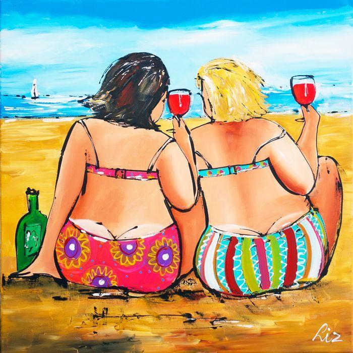 Vrolijk Schilderij Proosten aan het strand