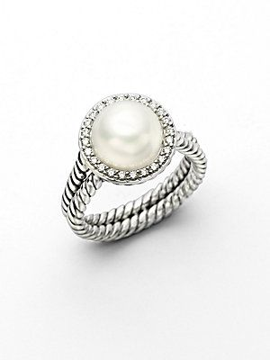 David Yurman White Pearl, Diamond & Sterling Silver Ring - Need this for my first Mother's Day :)