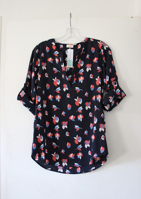 Pixley Ivy Petal Print Blouse. Navy and Coral. Love 3/4 sleeves! Dress it up, or dress it down easily. I feel like this color combination can be worn year round.