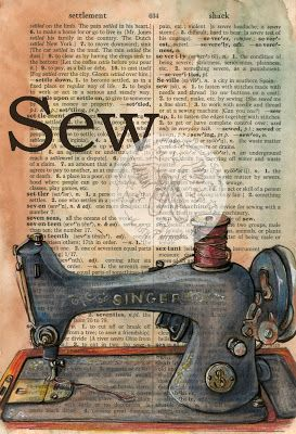 """Sew"" - Mixed Media Drawing on Distressed, Dictionary Page -flying shoes art studio www.Etsy.com/shop/flyingshoes"