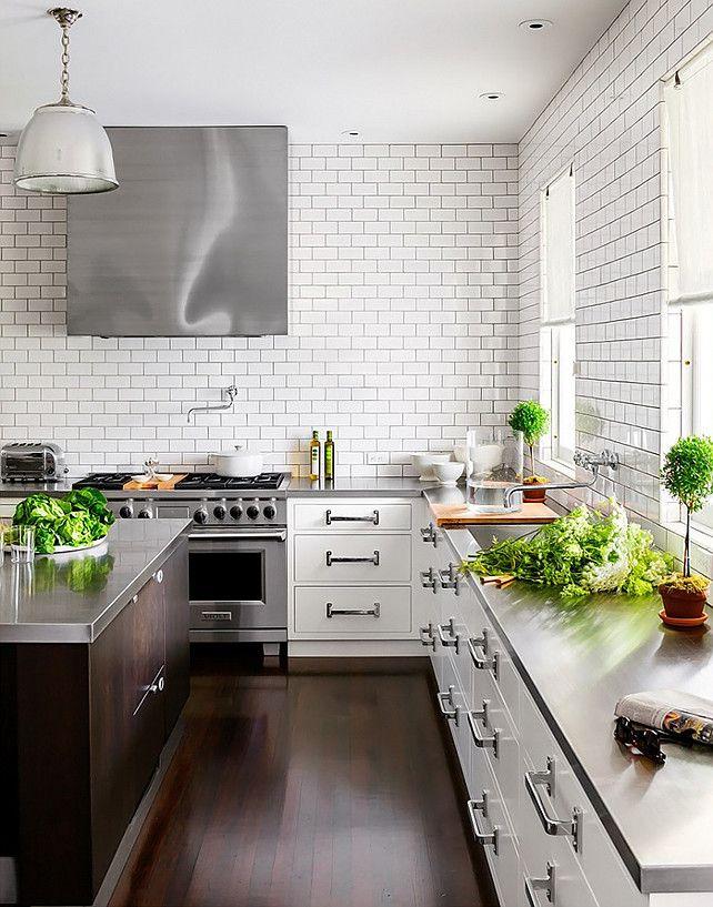 White Subway Tiles in Kitchen.