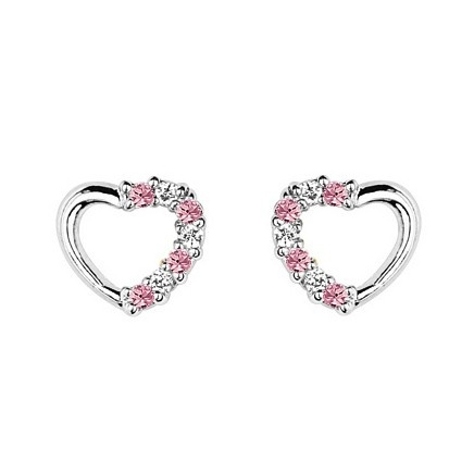 Baby And Childrens Earrings Sterling Silver Heart With Pink Cz Safety Backs