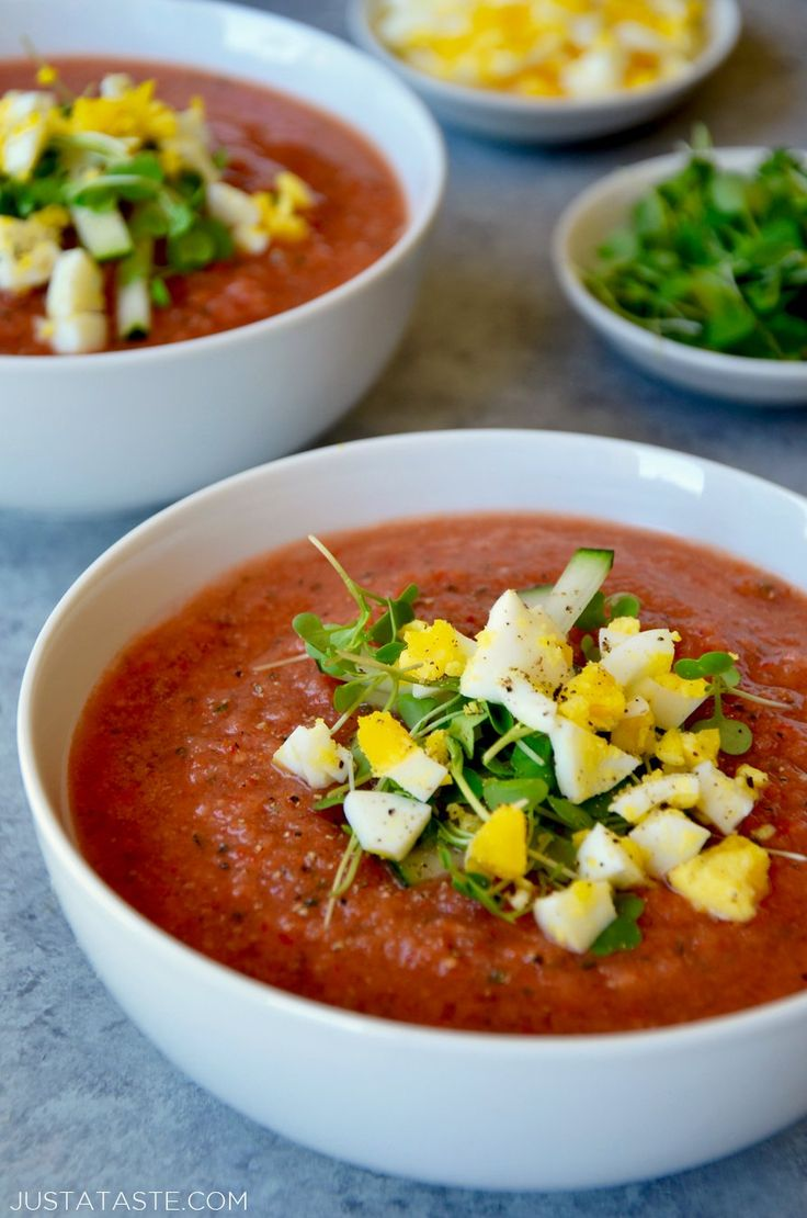 Whip up a quick no-cook meal with an easy recipe for gazpacho loaded with fresh vegetables and topped with chopped egg, bacon and avocado.