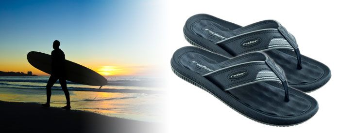 Dunas V - Black & Grey A brand-new take on one of our bestselling sandals, this comfortable flip-flop features a classic, synthetic-leather upper, a soft, waffle-textured EVA insole, and an extra-soft upper and fabric toe.