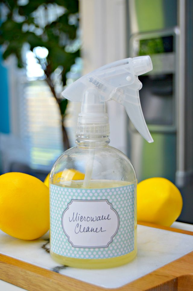 Homemade Microwave Cleaning Spray - helps remove food splatters and burned on stains and spots from your microwave with ease. No chemicals - all natural.