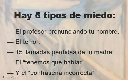 5 tipos de miedo