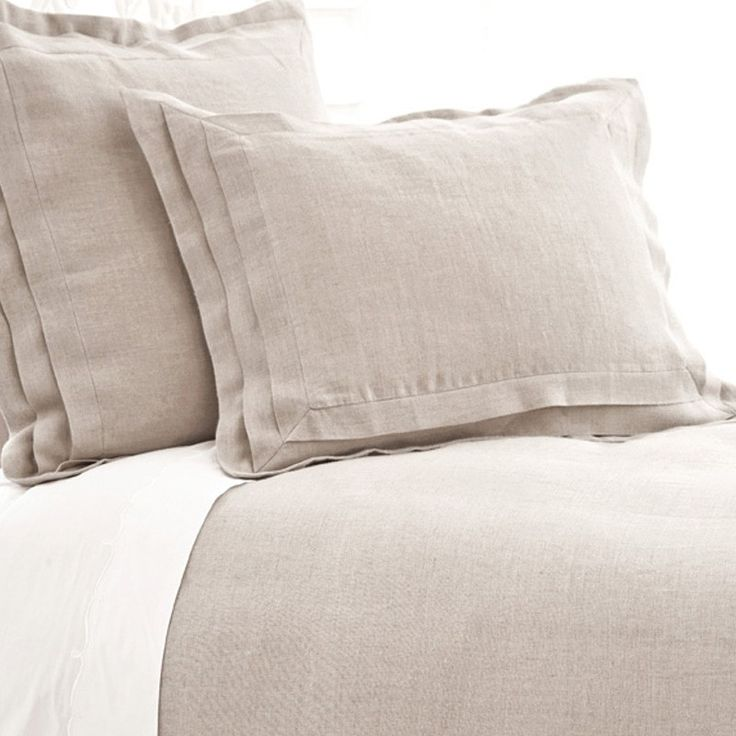 Pine Cone Hill Pleated Linen Natural Duvet Cover//