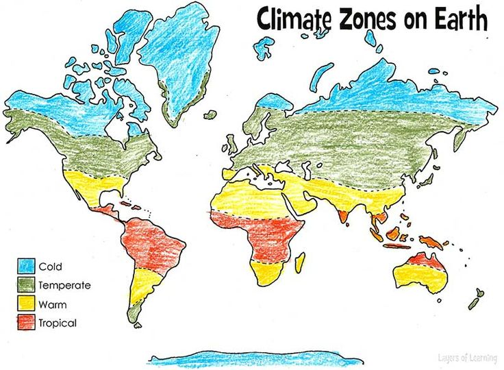 Print and color this climate zones of Earth map.  This is both a geography topic and an earth science topic.