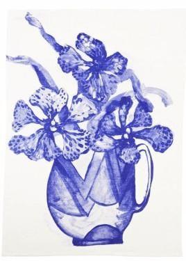 Vanda Blue Tea Towel | Bonnie and Neil – Salt Living or online at www.saltliving.com.au #saltliving #bonnieandneil #teatowel #screenprinting #linen