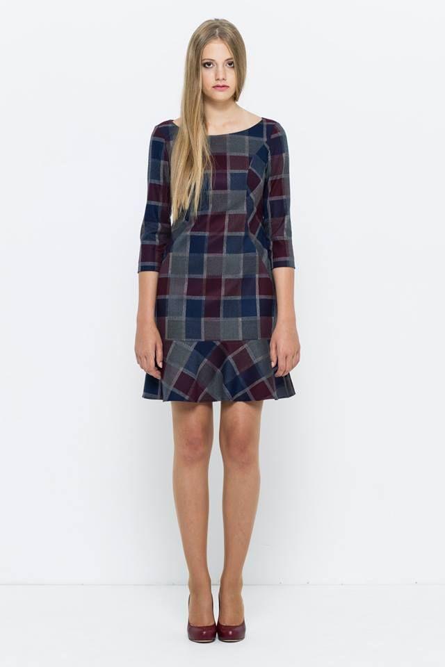 sukienka w kratę, dzwonek VISSAVI