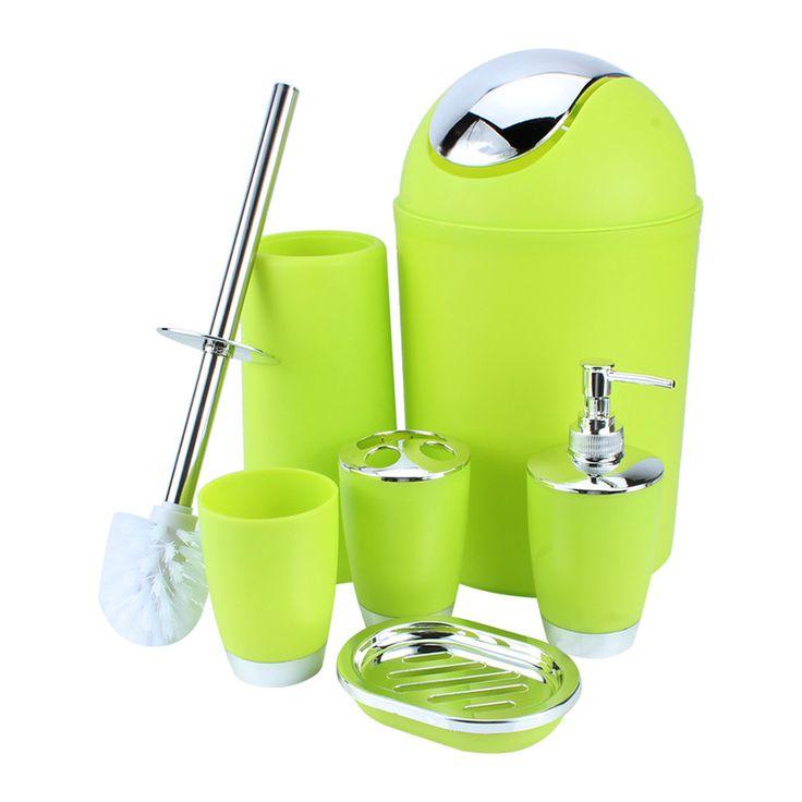 Hot 6 Unids/set Estilo Europeo Conjunto de Accesorios de Baño Jabonera Dispensador Vaso Cepillo de Baño Banheiro Holder Gadgets