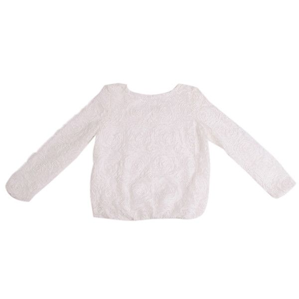 Women Blouse Tops Long Sleeve O-Neck 3D Rosa Flower New Fashion Hot Sale Chiffon Pullover Elegante Casual Korean Style One Size