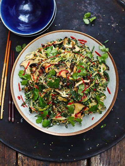 Jamie's vegan Chinese noodles recipe is super moreish; thin rice noodles mixed with oriental mushrooms, garlic and chilli make a delicious vegan feast.