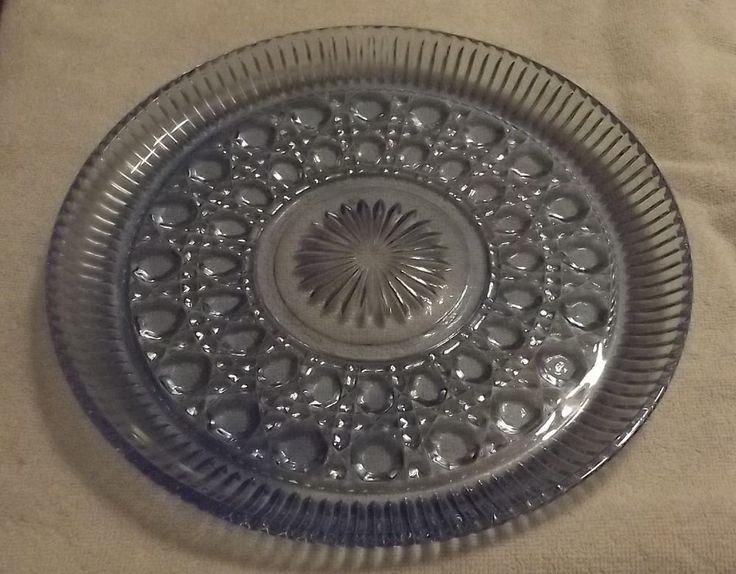 "BLUE WINDSOR VTG BUTTON AND CANE INDIANA GLASS 11"" CAKE PLATE MID CENTURY"