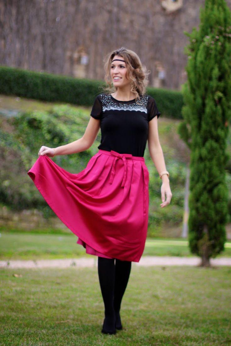 Midi pink, falda midi, midi skirt, pink skirt http://www.mitacondequitaypon.com/2015/01/midi-pink.html#more
