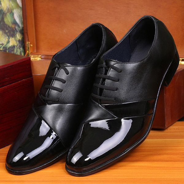 Men Black Pointed Toe Lace Up Color Match Formal Office Shoes Online - NewChic