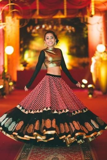 metallic gold lehenga full sleeves with printed banarsi lehenga skirt