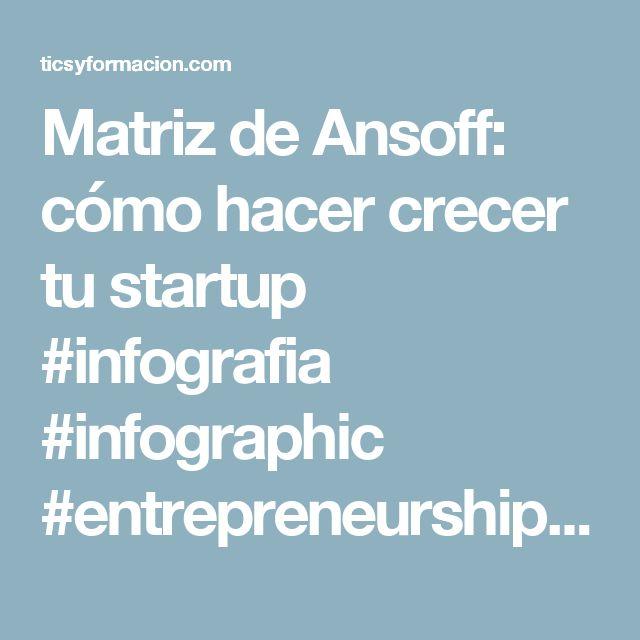 Matriz de Ansoff: cómo hacer crecer tu startup #infografia #infographic #entrepreneurship - TICs y Formación