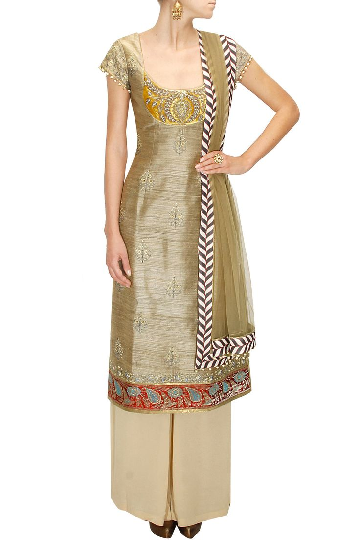 Gold silk kurta with Fine embroidery on neck line  get it done at http://mytailor.in/