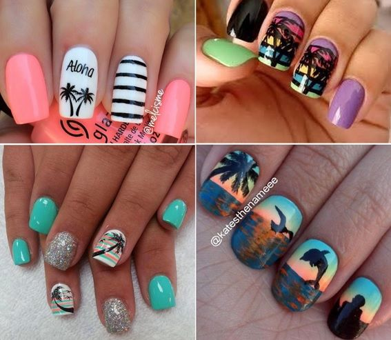 Aprenda decorar as unhas passo a passo com elementos tropicais. Você será capaz de decorar as unhas com flores e com coqueiros, usando pincel ou adesivo.