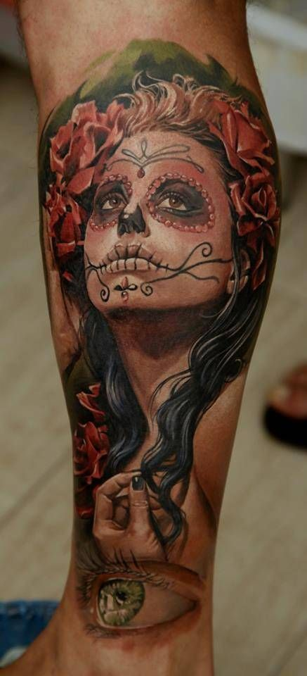 day of the dead girl by artist dmitriy samohin day of the dead girl tattoo pinterest. Black Bedroom Furniture Sets. Home Design Ideas