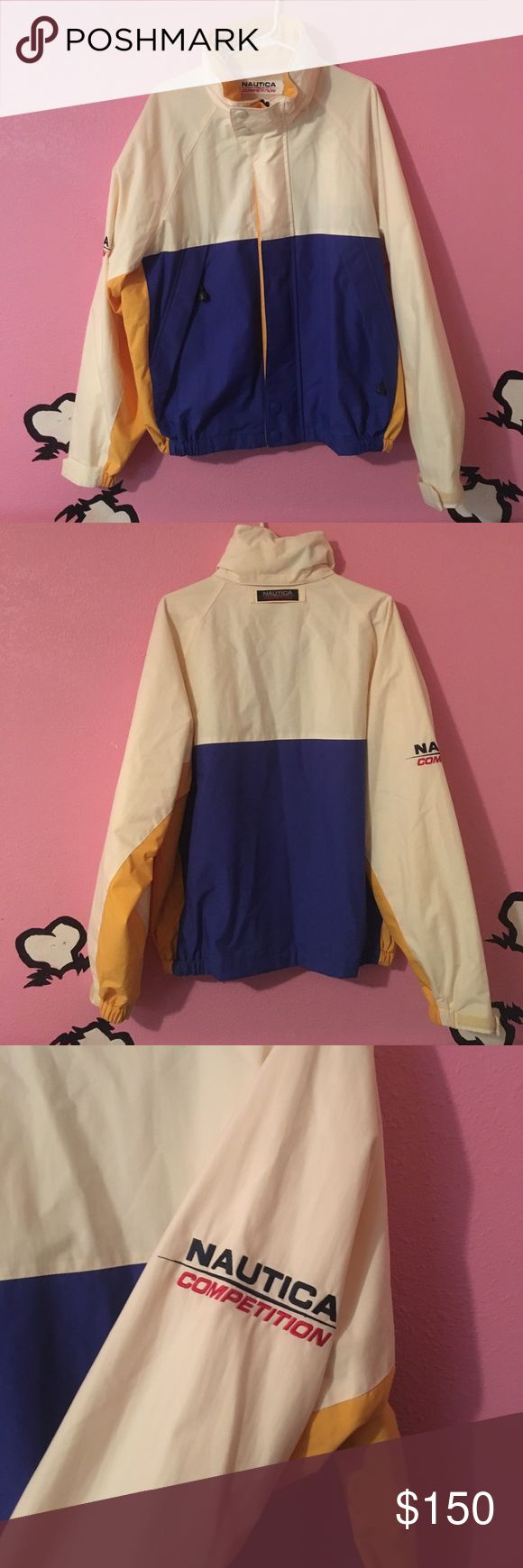 Vintage Nautica Competition jacket Super dope Vintage Nautica Competition jacket. Has a hidden pocket inside and a hidden hoodie that you can pull out, which makes it very unique. Size L in men's fits a size L in woman as oversized jacket 💁🏻 has a supreme vibe Taking offers- Nautica Jackets & Coats