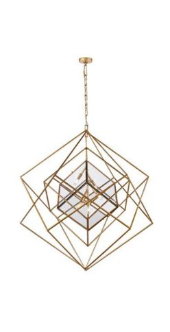 Here at Euri Lighting, we're big fans of Kelly Wearstler Lighting! | CUBIST LARGE CHANDELIER. Geometric lighting available in Aged Iron and Gild.
