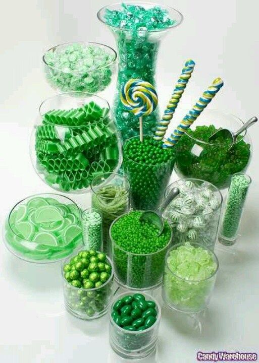 Green Candy Bar, good candy ideas  We can do this!!  #sweetsurprises www.sweet-surprises.com