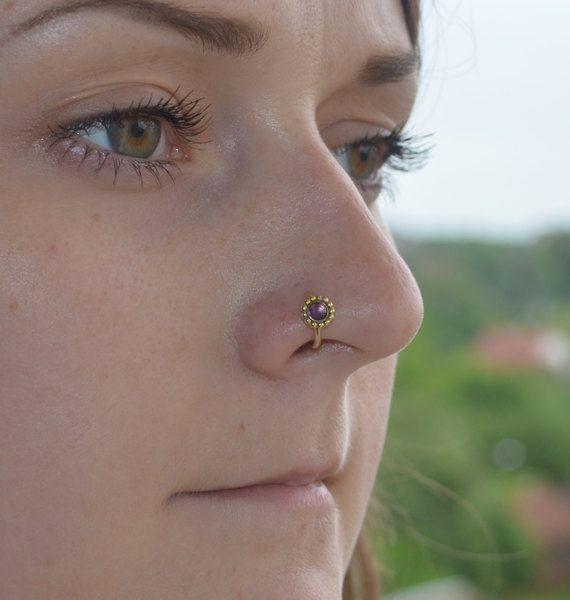 3mm Amethyst Nose Ring, Gold nose stud 16 gauge, Cartilage piercing, Tragus earring, Helix hoop, Rook piercing jewelry, Daith piercing