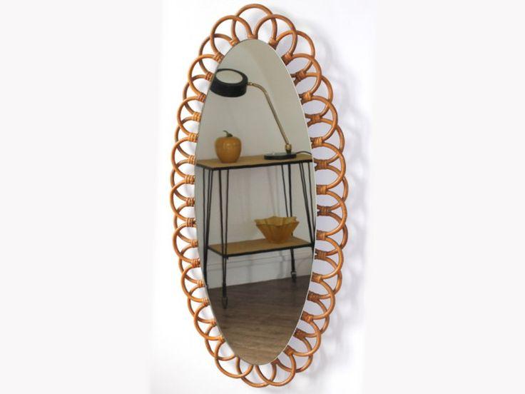 Miroir en rotin vintage des années 60